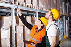 Engineer ordering to worker Stock Photo