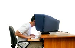 IT engineer over white Stock Photos