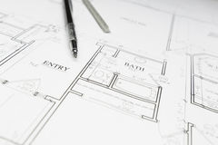 Engineer Pencil and Ruler Resting on House Plans Royalty Free Stock Photo