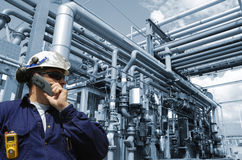 Engineer and pipelines Stock Image