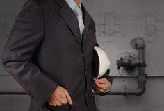 Engineer with the piping of an industrial waste water cleaning f Royalty Free Stock Photos