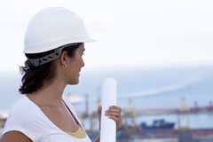 Engineer with a plan Stock Photography