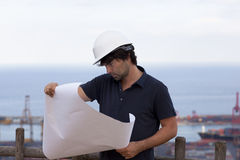 Engineer with a plan Stock Images