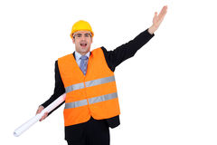 Engineer with plans Stock Image