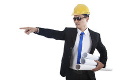 Engineer pointing Royalty Free Stock Images