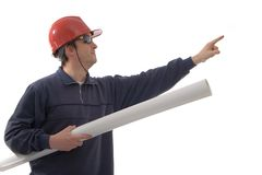 Engineer, pointing with finger Royalty Free Stock Images