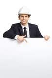 Engineer pointing hand gestures at copyspace Royalty Free Stock Photos