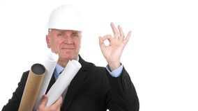 Engineer portrait with projects in hand smile and make ok hand gestures.  stock video
