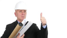Engineer Presentation with Plan in Hands Smile and Make Thumbs Up Gestures.  stock footage