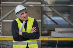 Engineer with protective workwear freezing outdoors Royalty Free Stock Photos