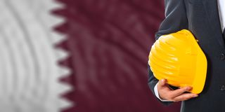 Engineer on a Qatar flag background. 3d illustration. Engineer on a waiving Qatar flag background. 3d illustration Stock Image