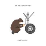 Engineer repairing aircraft landing gear. Repair and maintenance. Of airplane. Vector illustration Stock Photo
