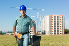 Engineer on residential construction site Royalty Free Stock Image