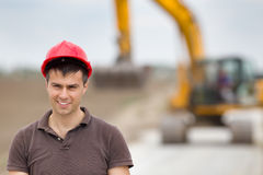 Engineer on road construction site Stock Photography