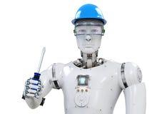 Engineer robot wearing safety helmet. 3d rendering engineer robot wearing safety helmet Stock Photography