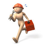 Engineer, running having a tool box Royalty Free Stock Photo