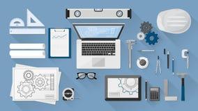 Engineer's desk Stock Photo