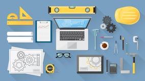 Engineer's desk royalty free illustration
