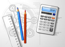 Engineer's Desktop. A vector design of a desk top with pencils, calculator, and ruler Royalty Free Stock Photo