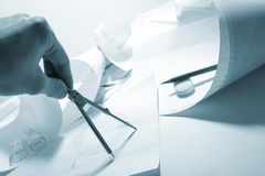 Engineer's work table Royalty Free Stock Photography