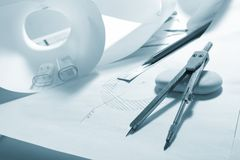 Engineer's work table Royalty Free Stock Photos