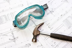 Engineer safety goggles Royalty Free Stock Photo