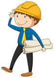 Engineer. With a safety hat holding files Royalty Free Stock Photo