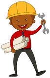 Engineer. With safety hat and tools in his hand royalty free illustration