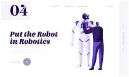 Engineer Scientists Male Character Programming Huge Robot. Robotics Hardware and Software Engineering. Artificial Intelligence. Website Landing Page, Web Page royalty free illustration