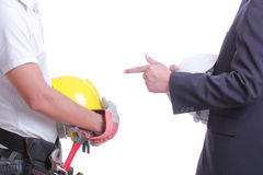 Engineer show hand for give like to worker Royalty Free Stock Image
