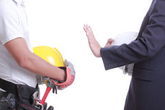 Engineer show hand for give like to worker Stock Images