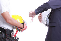 Engineer show hand for give like to worker Royalty Free Stock Photography