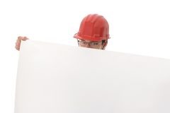 Engineer, showing a white paper Stock Images