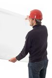 Engineer, showing a white paper Stock Image