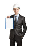Engineer shows a clipboard Royalty Free Stock Photos