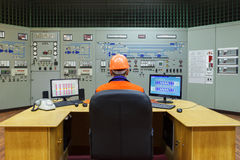 Engineer sitting at workplace Stock Images