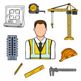 Engineer sketch icon for civil engineering design Royalty Free Stock Photography