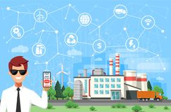 Engineer and smart factory concept. Industrial internet of Things. Sensor Network. royalty free stock image