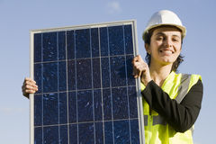 Female engineer with solar Energy Stock Photos