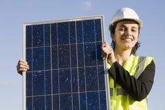 Female engineer with solar Energy Stock Photos