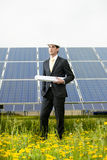 Engineer At Solar Power Station Royalty Free Stock Image