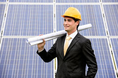 Engineer At Solar Power Station Royalty Free Stock Photography