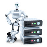 Engineer with stack of servers. Isolated. Contains clipping path. Engineer with stack of servers. Isolated over white. Contains clipping path Royalty Free Stock Photo