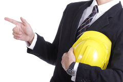 Engineer stand and use finger point something Royalty Free Stock Photo