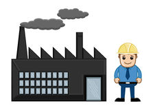 An Engineer Standing Outside a Factory - Vector Stock Images