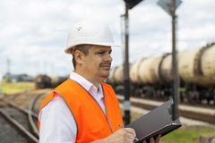Engineer at the station Stock Images