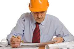 Engineer studies the project Stock Image