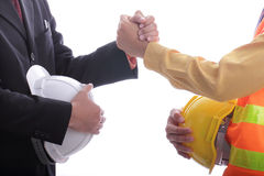 Engineer success discussion and job complete. Concept with white background royalty free stock image