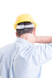 Engineer suffering from back neck pain Stock Image