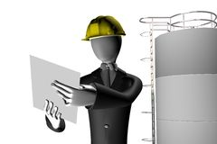 Engineer supervising industrial site. Engineer on a industrial site supervising the work process 3d illustration isolated on white background Royalty Free Stock Images